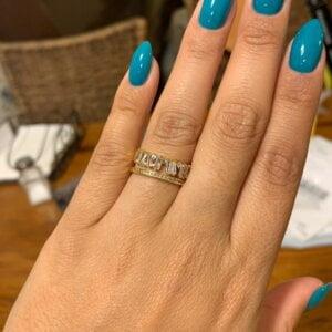Prabangus cirkonio ir aukso žiedas-6