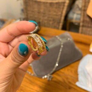 Prabangus cirkonio ir aukso žiedas-8
