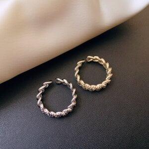 Prabangus cirkonio twist dizaino atviras žiedas-auksinis ir sidabrinis-1