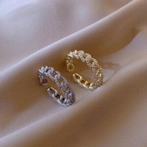Prabangus cirkonio twist dizaino atviras žiedas-auksinis ir sidabrinis